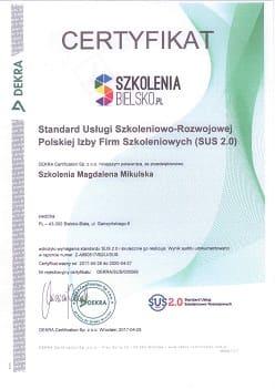 """Certyfikat """" Standard Usługi Szkoleniowo-Rozwojowej Polskiej Izby Firm Szkoleniowych"""""""